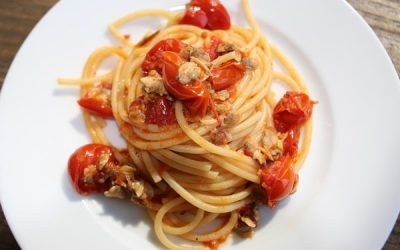 Spicy Clam and Fire Roasted Tomato Pasta